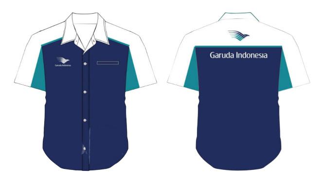 desain baju kantor garuda pendek
