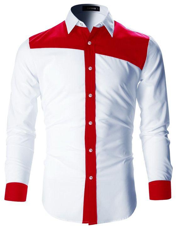 kemeja formal kombinasi merah